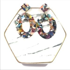 Rainbow Tortoise Shell Acrylic Oval Earring